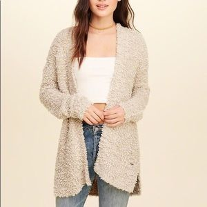 Hollister Long Fuzzy Cardigan Beige Knit Size XS